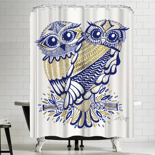Inked Owls Shower Curtain by East Urban Home