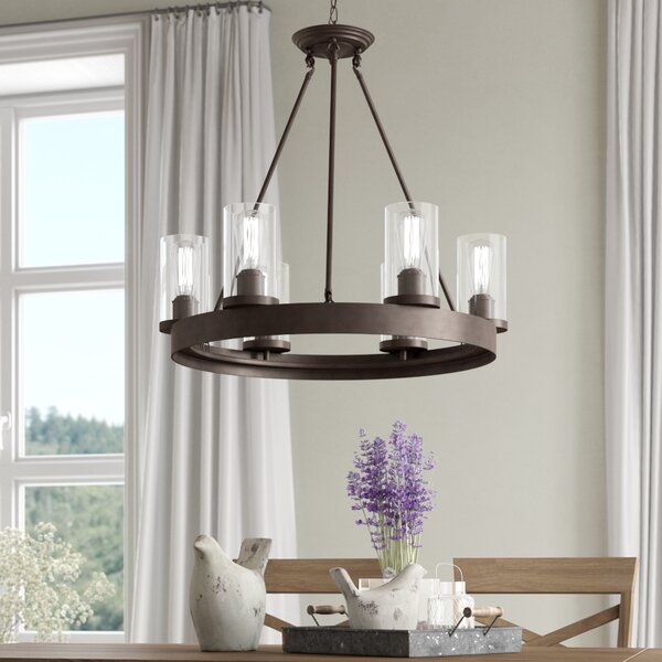 Florine 6-Light Shaded Wagon Wheel Chandelier By Laurel Foundry Modern Farmhouse