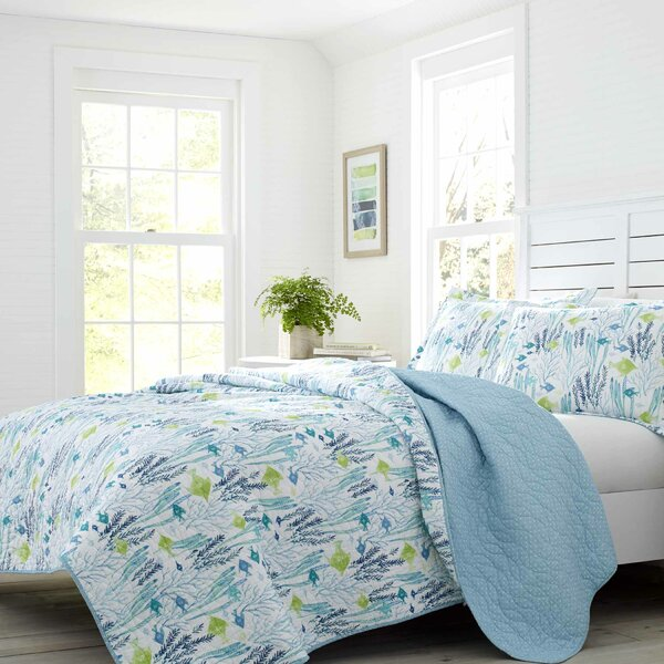 Seaweed Fish Cotton Reversible Quilt Set by Laura Ashley Home by Laura Ashley Home