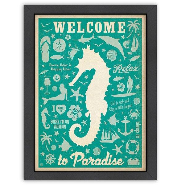 Seahorse Pattern Print Framed Vintage Advertisement by East Urban Home