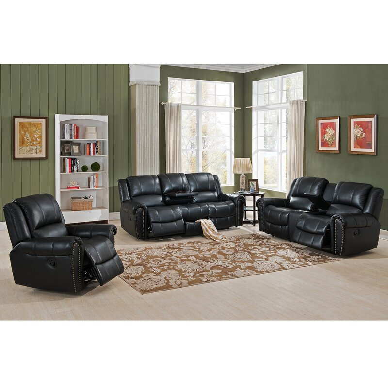 Living Room Sets Recliners amax houston 3 piece leather recliner living room set | wayfair