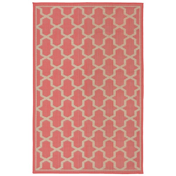Aaliyah Geo Power Loom Orange Indoor/Outdoor Area Rug by Highland Dunes