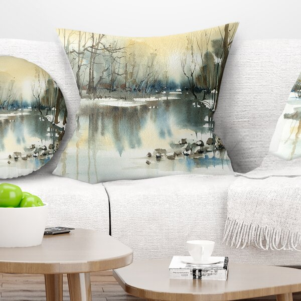 Landscape River in Winter Pillow by East Urban Home