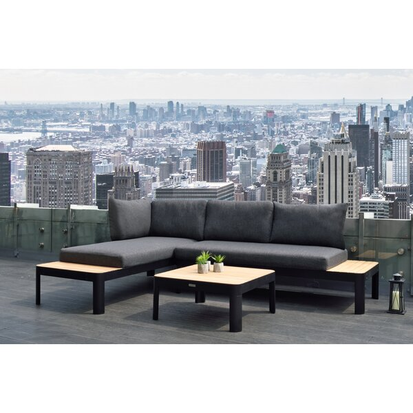 Portals Outdoor 3 Piece Teak Sectional Seating Group with Cushions by Armen Living