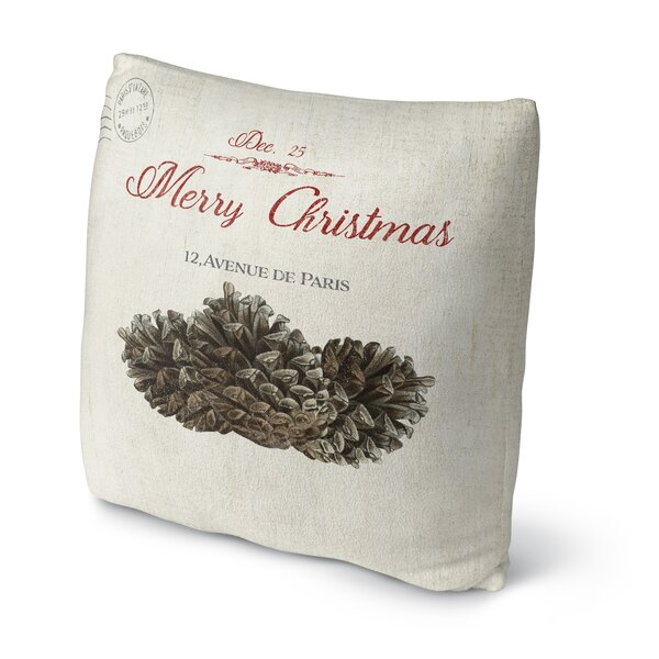 Laurelynn Pine Cone Christmas Outdoor Throw Pillow by Red Barrel Studio