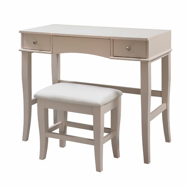 Savarese Vanity Set with Stool and Mirror by Alcott Hill