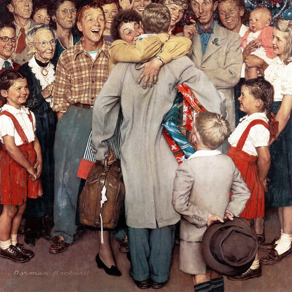 Christmas Homecoming.Christmas Homecoming By Norman Rockwell Painting Print On Wrapped Canvas