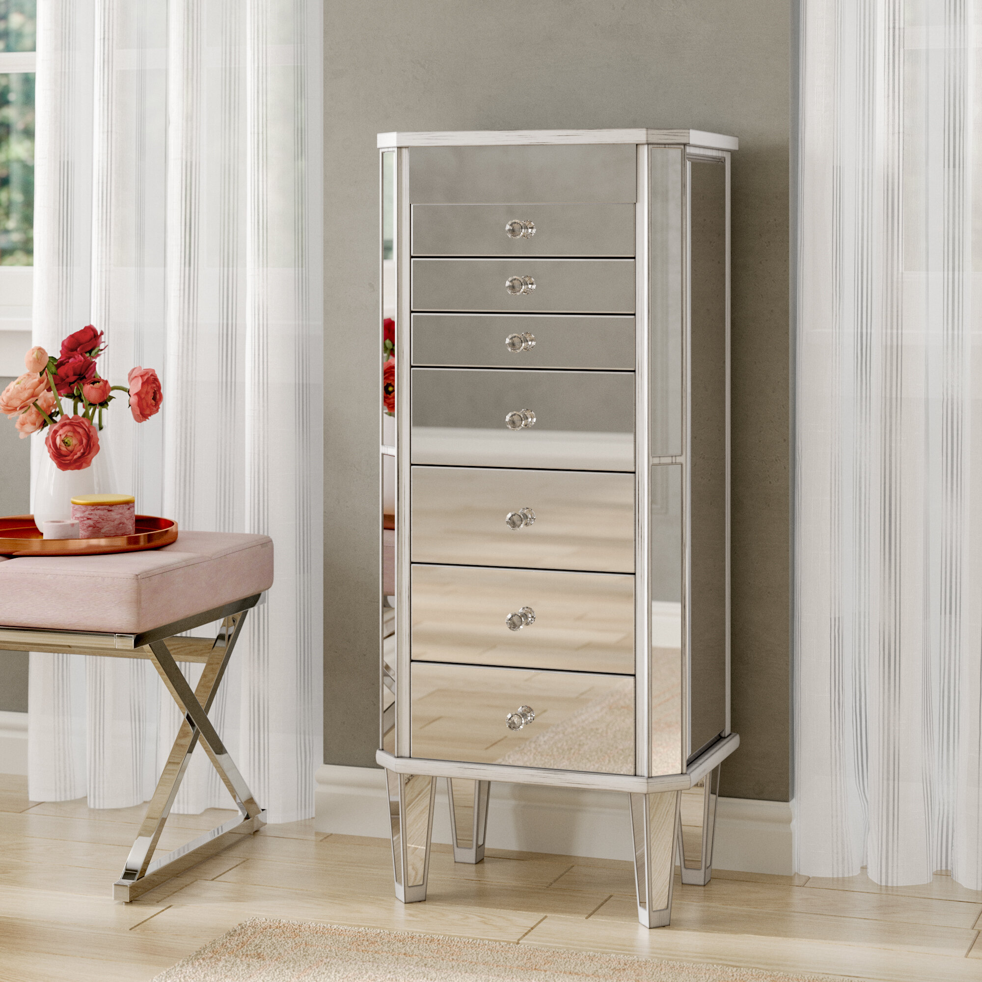 Ashmore Mirrored Jewelry Armoire
