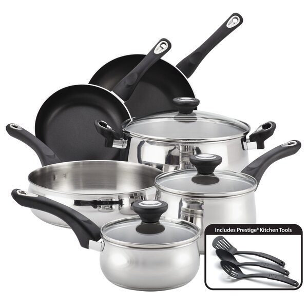 New Traditions 12 Piece Non-Stick Stainless Steel Cookware Set by Farberware