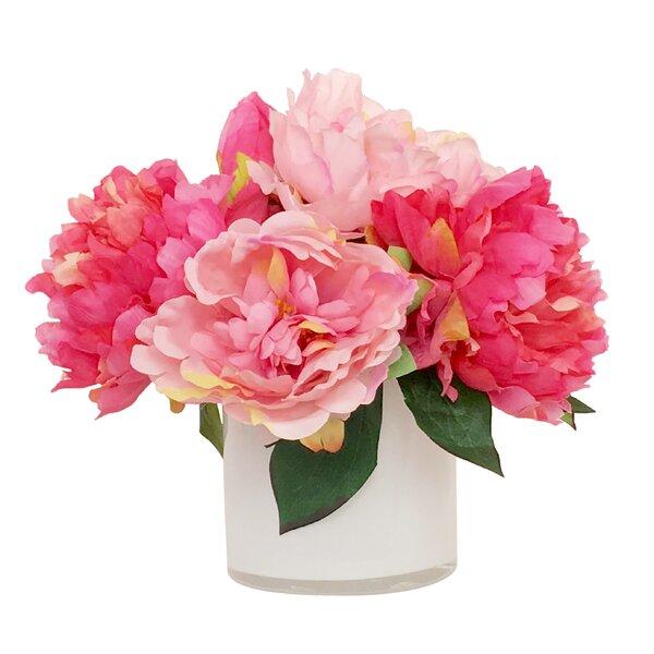 Artificial Silk Peonies Floral Arrangement in Decorative Vase by House of Hampton