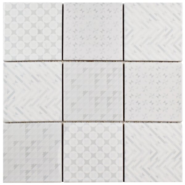 Geogloss 3.88 x 3.88 Porcelain Mosaic Tile in White by EliteTile