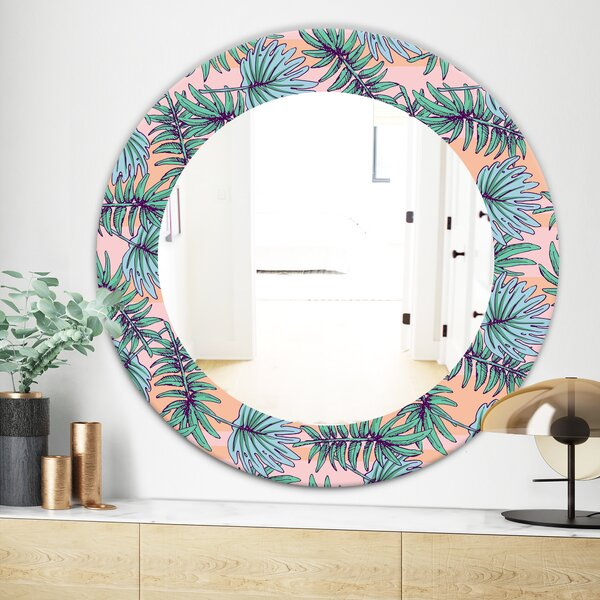 Summer Colorful HawaIIan with Tropical Plants Bohemian and Eclectic Framed Wall Mirror