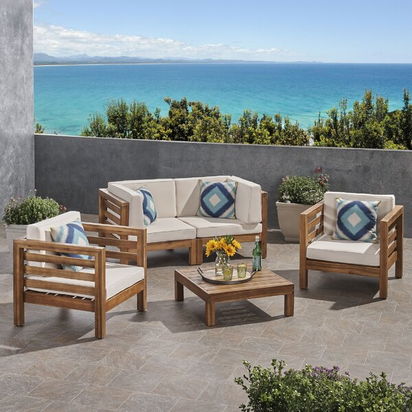 Zaina Outdoor 4 Piece Deep Seating Group with Cushions by Longshore Tides