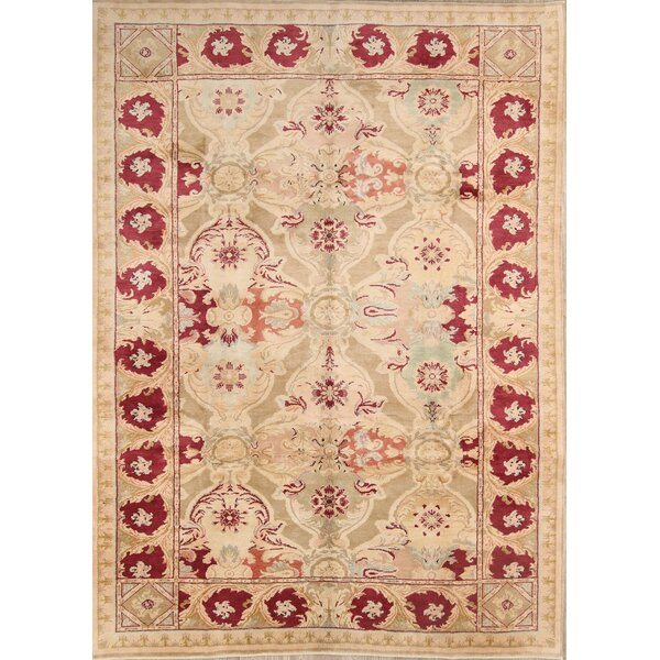 Copperfield Oushak Oriental Hand-Knotted Wool Beige/Red Area Rug by Bloomsbury Market