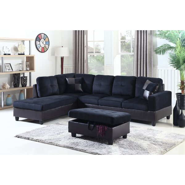 Modern Aiden Sectional by Beverly Fine Furniture by Beverly Fine Furniture