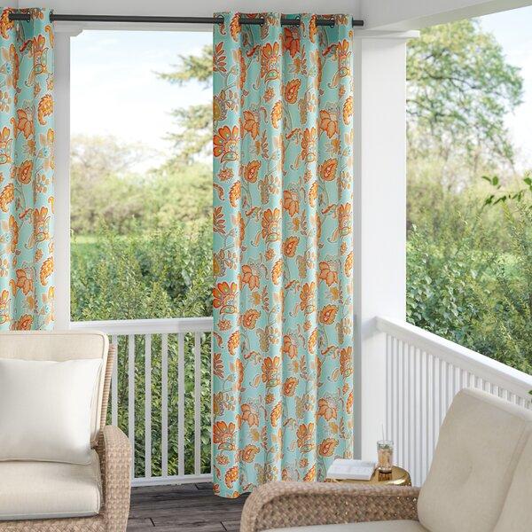 Perrysburg 3M Scotchgard Nature/Floral Room Darkening Outdoor Grommet Single Curtain Panel by Andover Mills