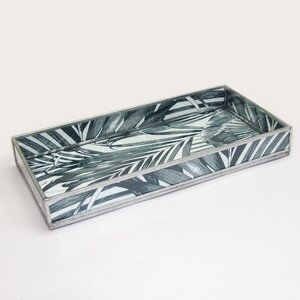 Hinsdale Leaf Print Decorative Glass Serving Tray