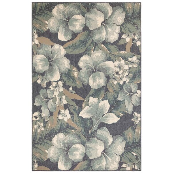 Mario Tropical Flower Blue/White Indoor/Outdoor Area Rug by Bay Isle Home