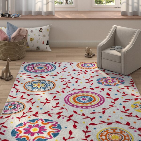 Carlwirtz Cream/Red/Pink Area Rug by Harriet Bee