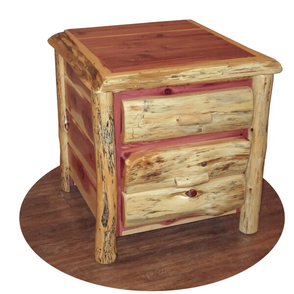 Gillingham Log 2 Drawer Nighstand by Loon Peak