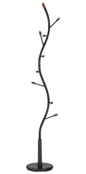 9 Hook Wood/Black Metal Coat Rack by !nspire