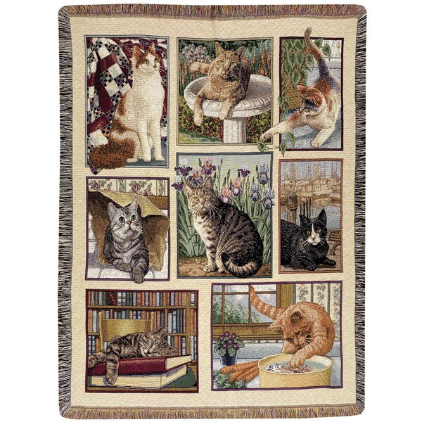 Kitty Corner Tapestry Cotton Throw by Manual Woodworkers & Weavers
