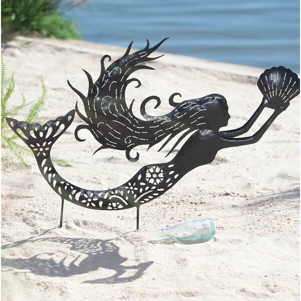 Metal Mermaid Silhouette Garden Stake by Wind & Weather