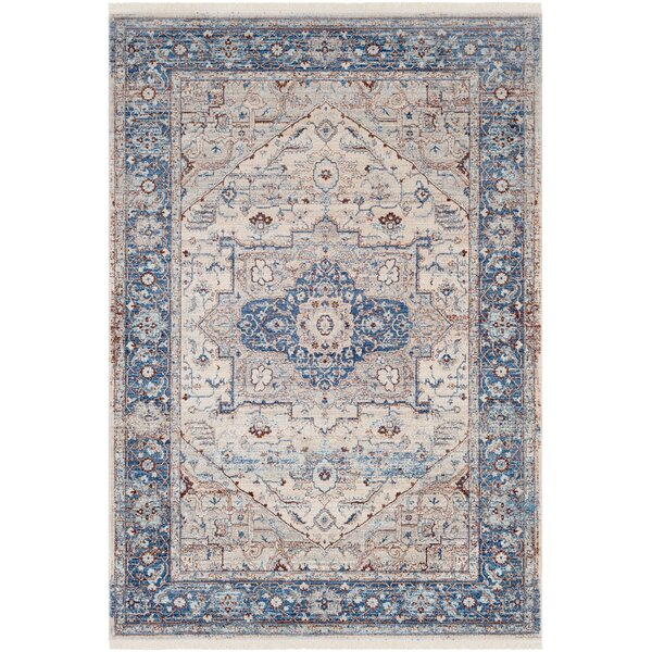 Mendelsohn Oriental Vintage Persian Traditional Blue/Cream Area Rug by Three Posts