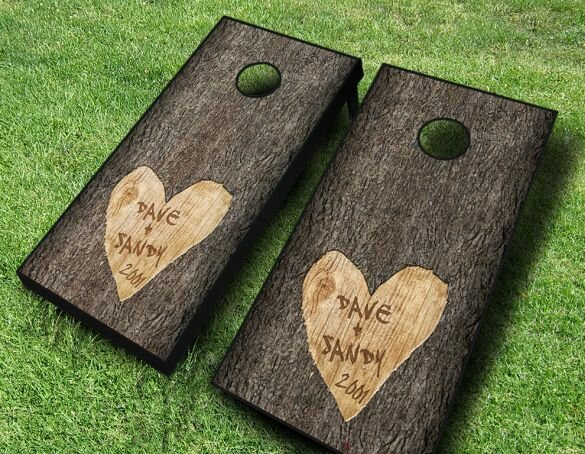 Wedding Tree Carved Cornhole Set by AJJ Cornhole