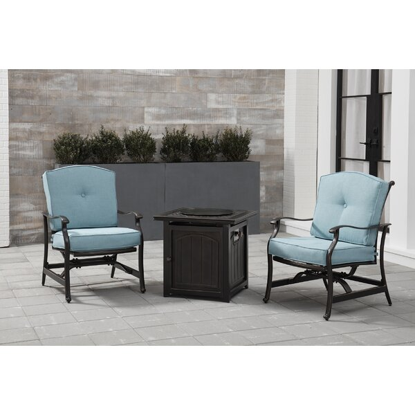 Carleton 3-Piece Fire Pit Chat Set in Blue with 2 Cushioned Rockers and a 26-In. Square Fire Pit Side Table by Fleur De Lis Living