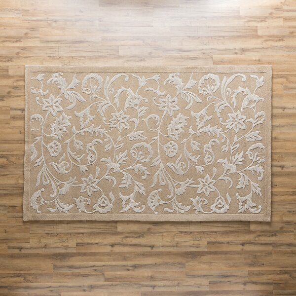 Hand Tufted Wool Beige Area Rug by Birch Lane™