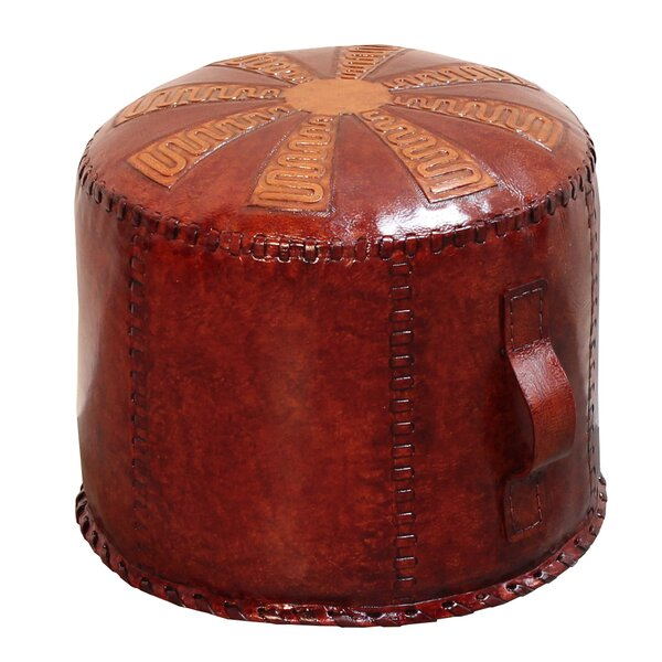Home & Outdoor Pasillas Leather Pouf Ottoman
