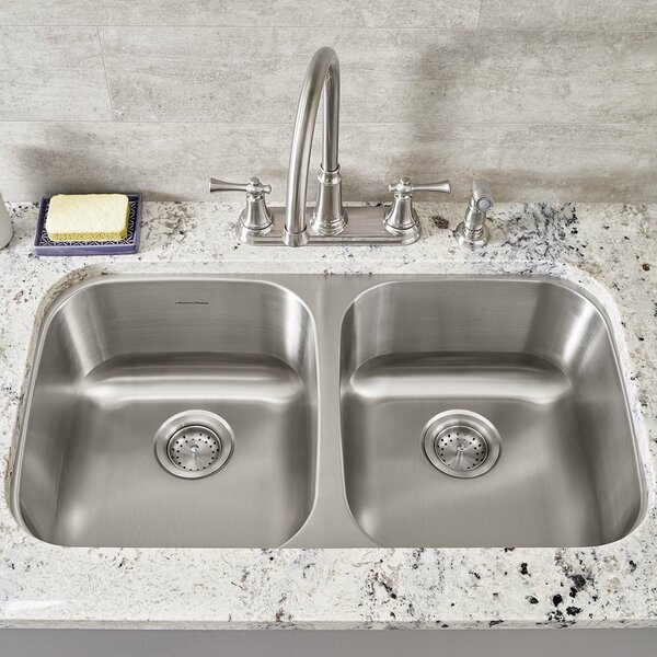Portsmouth 32.25 L x 18.5 W Double Basin Undermount Kitchen Sink by American Standard
