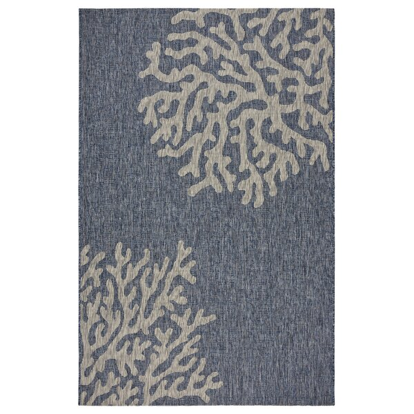 Christiane Reef Navy/Gray Indoor/Outdoor Area Rug by Highland Dunes