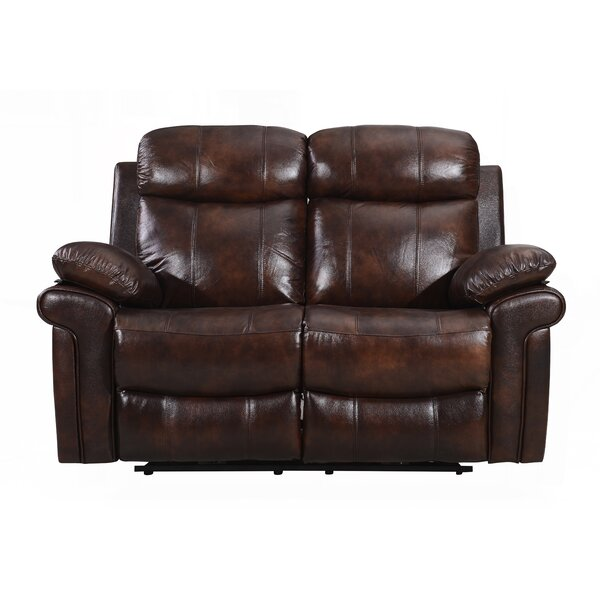 Asbury Leather Reclining Loveseat by Red Barrel Studio Red Barrel Studio