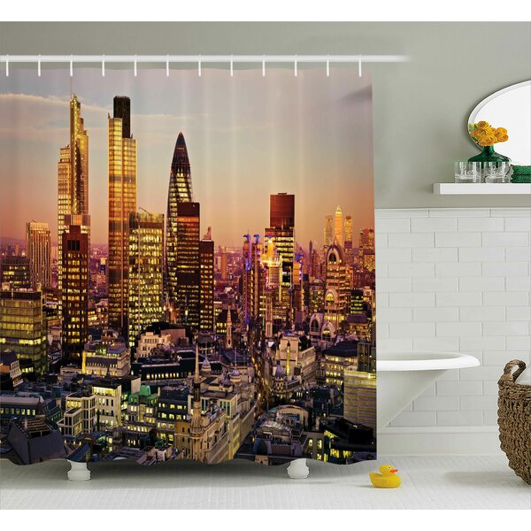 Valentina New York Global City Sunset With Light Reflecting on Skyscrapers Famous Town Landmark View Shower Curtain by Ivy Bronx