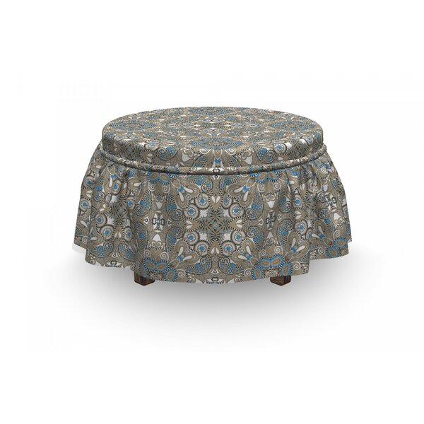 Ethnic Persian Flora 2 Piece Box Cushion Ottoman Slipcover Set By East Urban Home
