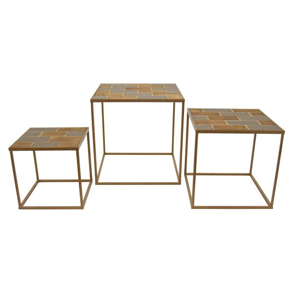 Helmick Wood and Metal 3 Piece Nesting Tables by Latitude Run