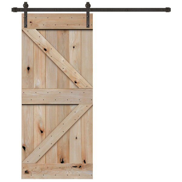 Plank Knotty Solid Panelled Wood Interior Barn Door by Creative Entryways