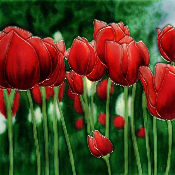 Red Tulip Tile Wall Decor by Continental Art Center