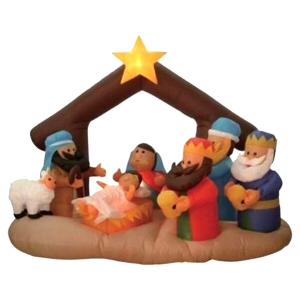 Christmas Inflatable Nativity Scene Under Stable Decoration by The Holiday Aisle