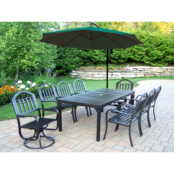 Lisabeth 9 Piece Swivel Dining Set with Umbrella by Red Barrel Studio