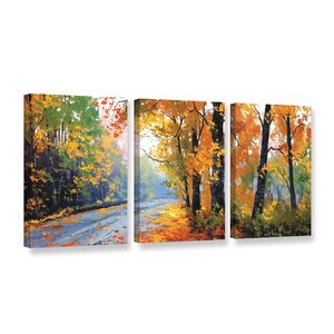 Autumn Backlight 3 Piece Painting Print on Wrapped Canvas Set by Red Barrel Studio