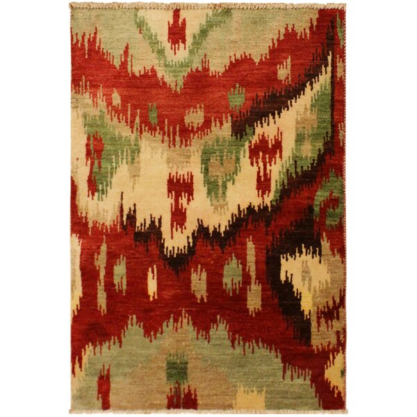 One-of-a-Kind Lutz Hand Knotted Wool Red/Green Area Rug by World Menagerie