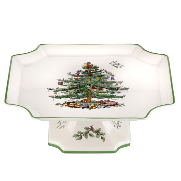 Christmas Tree Serve 11 Footed Cake Plate by Spode
