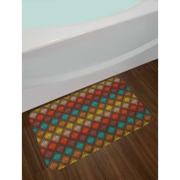 Tribal Primitive Abstract Folk Dots Forming Diamond Forms Ethnic Artsy Pattern Bath Rug by East Urban Home