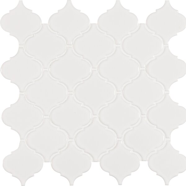 Arabesque Porcelain Mosaic Tile in White by MSI