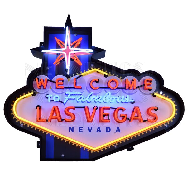 Welcome to Fabulous Las Vegas in Shaped Steel Can Wall Light by Neonetics