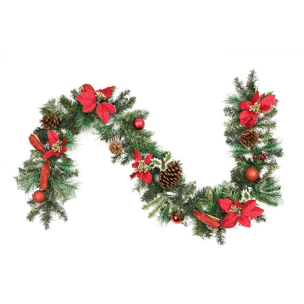 Pre-Decorated Poinsettia Pine Cone and Ball Artificial Christmas Garland by Northlight Seasonal