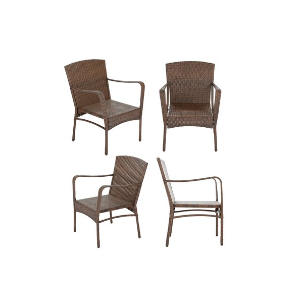 Dengler Outdoor Garden Stacking Patio Dining Chair (Set of 4) by Highland Dunes